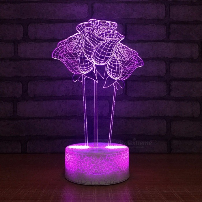 Romantic Roses Shape 3D Desk Lamp LED 3D Night Lights 7 Colors Changing Touch Switch Light Wedding Room Lamp Changeable/Clear/3w