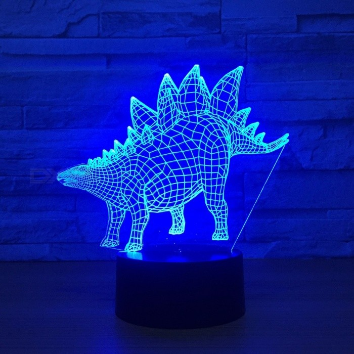 New Stegosaurus 3D Table Lamp Visual Light 7 Color Touch Color LED USB Desk Night Lights Changeable/Clear/3w