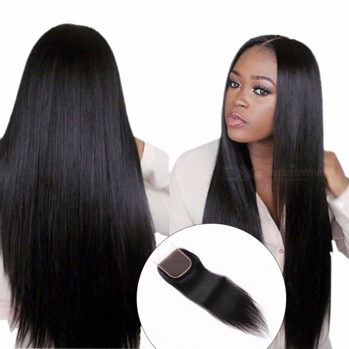 4x4 Lace Closure Indian Straight Hair, Natural Extensions Non Remy Hair, 8-20Inch Swiss Lace Closure Baby Hair 8inchesMiddle Part
