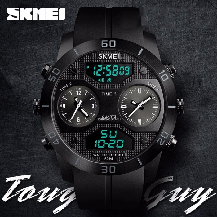 SKMEI Multifunction Waterproof Three Time Zone Men's Watch Student Electronic Watches