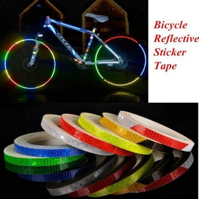 1cm*8m Reflective Stickers Motorcycle Bicycle Reflector Bike Cycling Security Wheel Rim Decal Tape Fluorescent Waterproof F