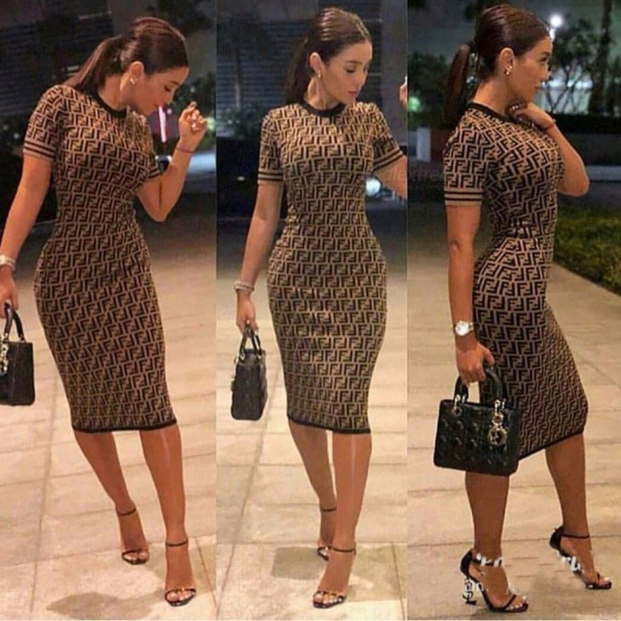 New Letter Printing Thin Waist Round Neck Knit Dress Popular Style Digital Printing Double F Commuter Women Dress Multi