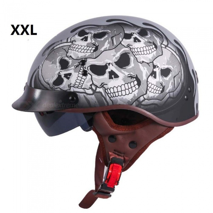 ZHAOYAO T55 Vintage Jet Motorcycle Scooter Half Helmet with Built-in Visor Lens -  (XXL)