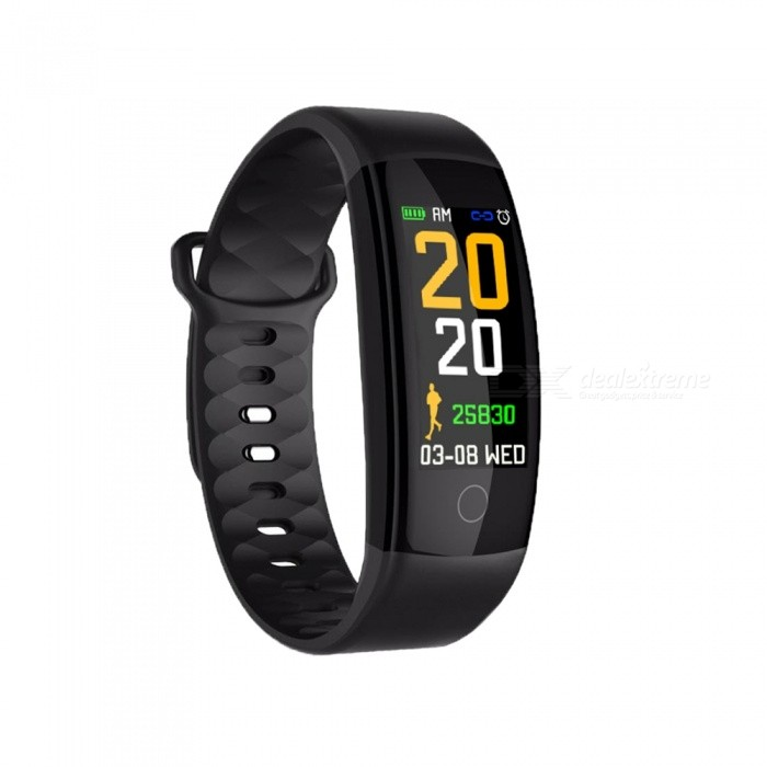 QS01 Color Screen Smart Bracelet with Blood Pressure / Heart Rate / Sleep Monitoring - Black