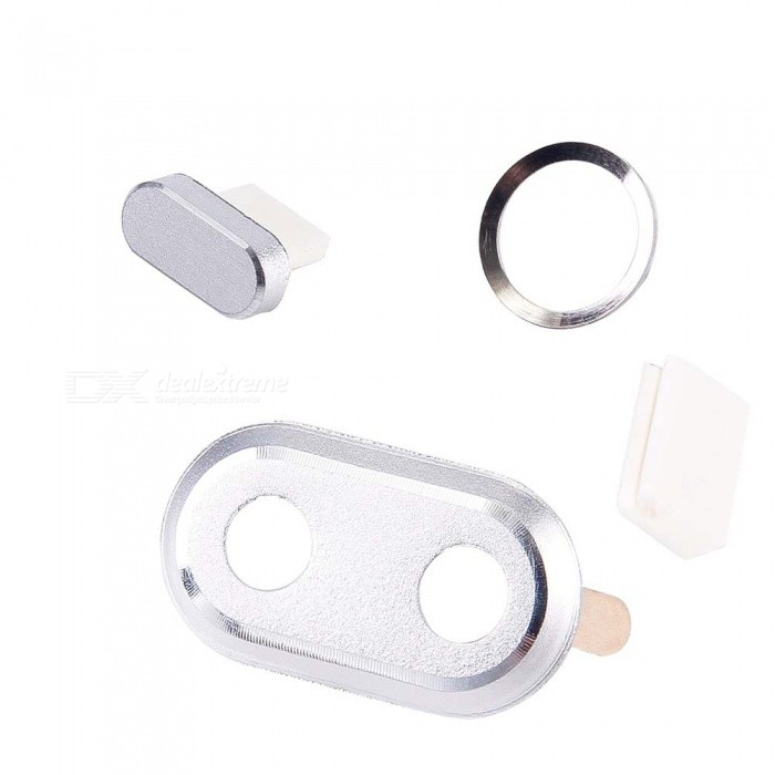 Camera Lens Cover Home Button Ring Charging Anti Dust Plug Set For Iphone 8 Plus 7 Plus White Black Rose Gold
