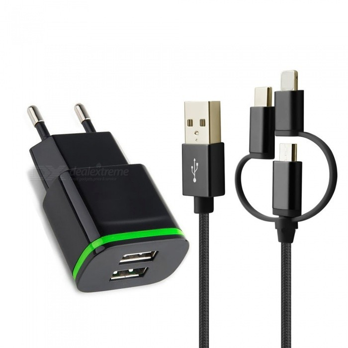 Cwxuan 3 in 1 USB Charging Sync Data Cable with 2-Port USB 5V Power Charger for Xiaomi, Huawei, Vivo, Samsung, IPHONE