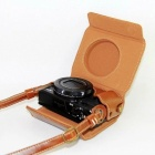 JEDX PU Leather Camera Protective Pouch + Strap for Canon PowerShot G7X MarkII Digital Camera - Coffee