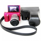 JEDX PU Leather Protective Camera Case Shell for Sony NEX-F3 18-55mm - Black
