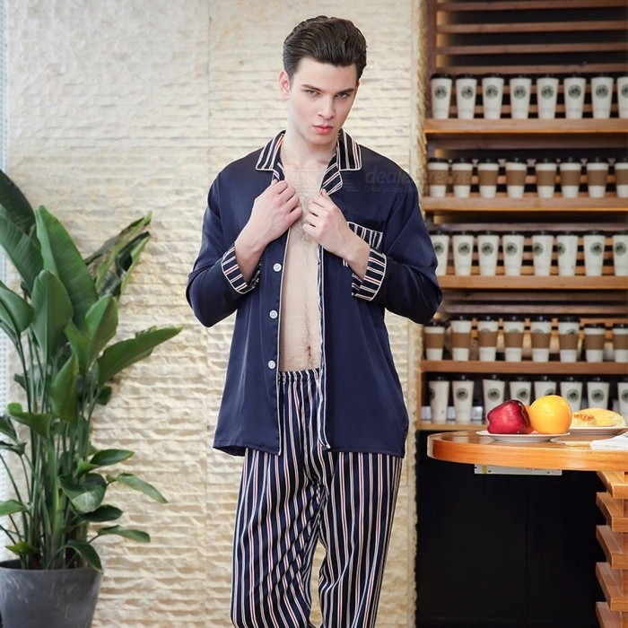 Pajamas-Sets-Mens-Spring-Fashion-Striped-Long-sleeved-Tops-2b-Trousers-Pants-Loungewear-Suit-Home-Clothing-BlueXXL