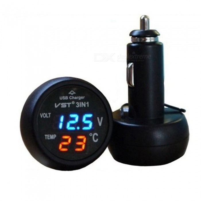ESAMACT Car 3 in 1 Multifunction Car USB Charger Thermometer Voltmeter Digital Meter Monitor USB Charger for Mobile Phone