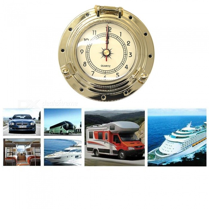 IZTOSS B37643C-G Roman Retro Clock Decoration Accessories for Car, RV, Yachts, Ship - Golden