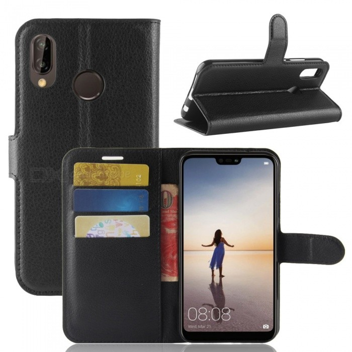 Buy Naxtop Phone Wallet Flip Leather Holder Cover Case for Huawei P20 lite/Nova 3e - Black with Litecoins with Free Shipping on Gipsybee.com