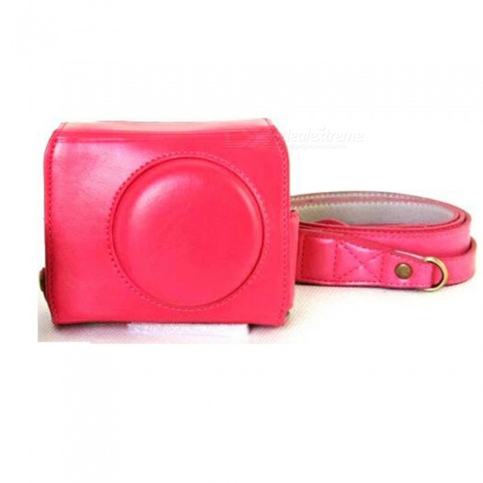 JEDX PU Leather Camera Protective Pouch + Strap for Canon PowerShot G7X MarkII Digital Camera - Pink