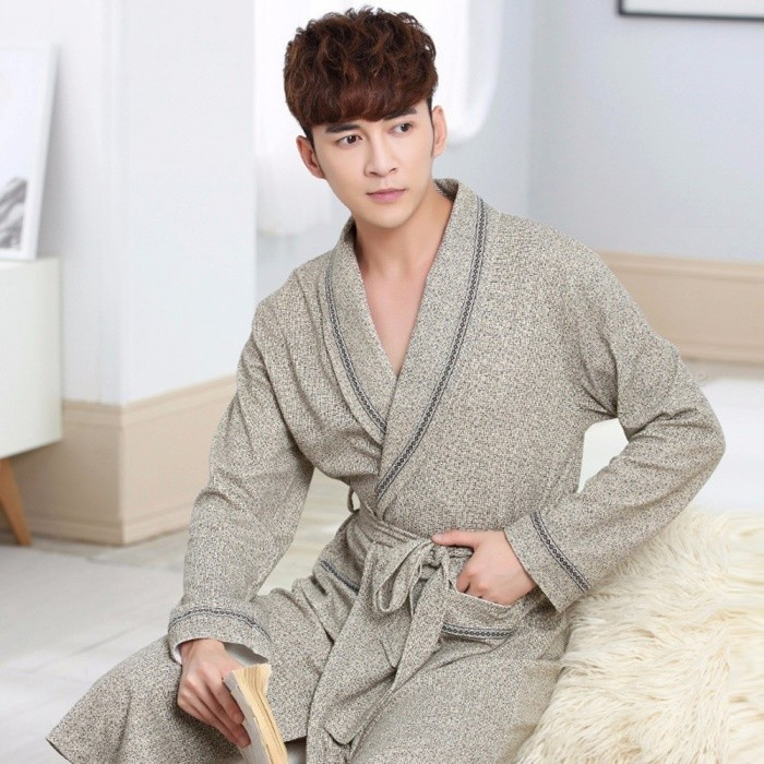 Autumn Bathrobe Men Cotton Sleepwear Nightgown Mens Knitting Long Sleeve Soft Nightgowns Cowboy Gray/M