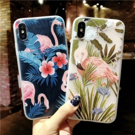 Stylish Cool Protective Matte Relief Flamingos Style Back Case Cover For IPHONE X Green , Blue