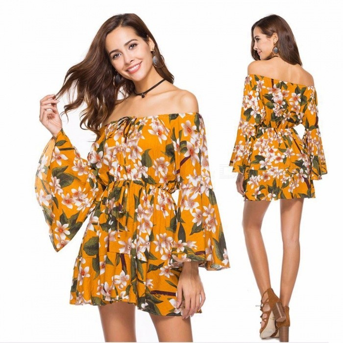 Summer Floral Print Boat Neck Dress Loose Tops Women\'s Ruffle Sleeves Beach Dress Fashion Clothes Clothing Yellow/S