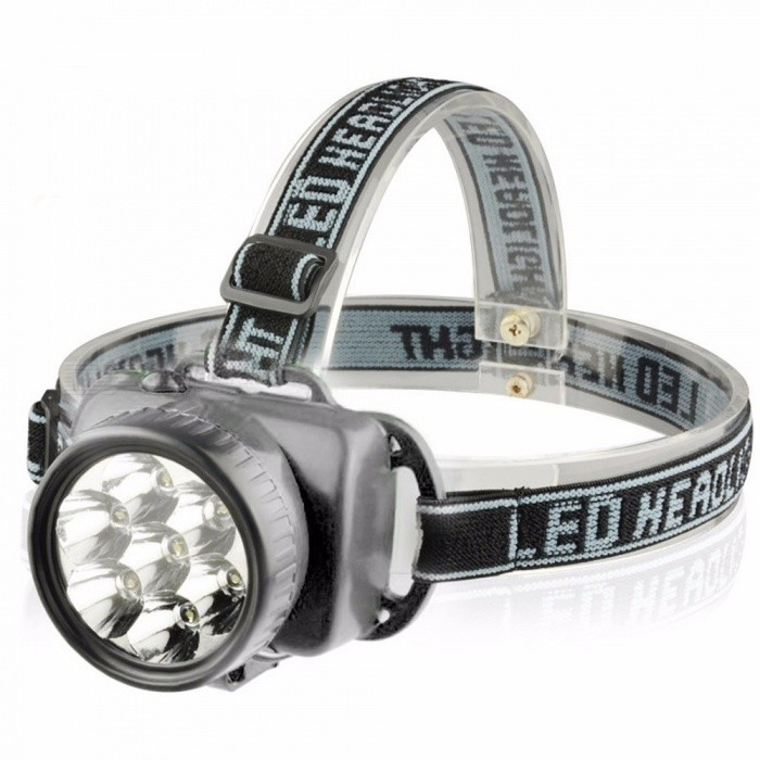 Outdoor LED Headlight Plastic Practical Battery Powered Headlamp Flashlight Fishing Hunting Light White/Black