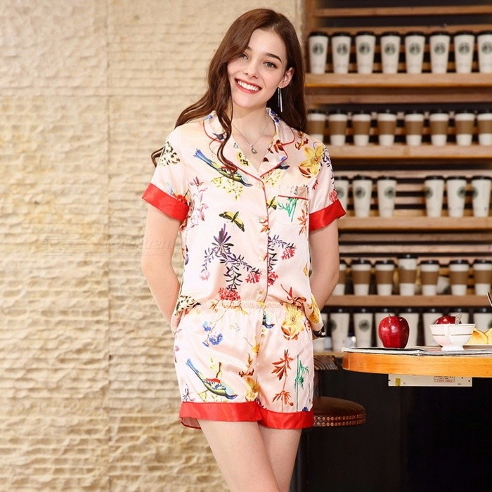 Elegant Stylish Artificial Silk Pajamas Set Short Sleeves Shirt Top + Shorts Set Nightwear Nightgown Homewear Pink/M
