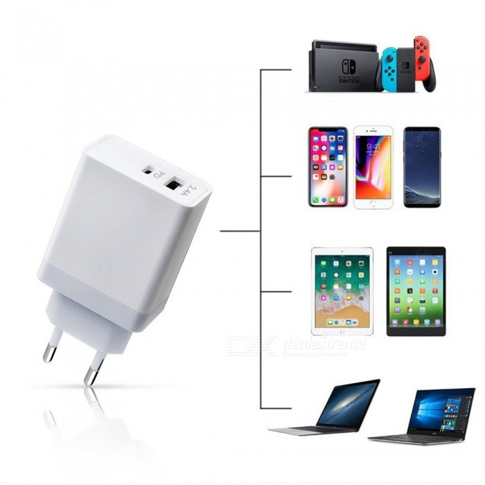 USB Type-C PD Charger USB Power Adapter Fast Charge for IPHONE X / Samsung / IPAD / Macbook EU Plug