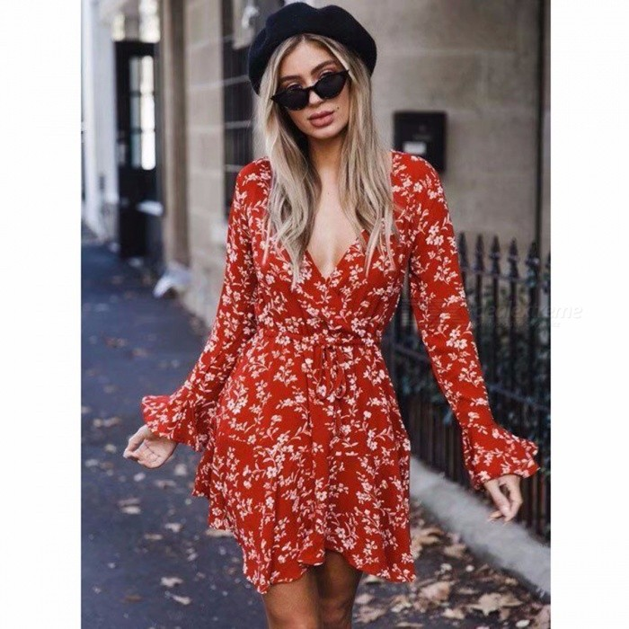Sexy Deep V Floral Print Dress Tops Women's Trumpet Sleeves High Waist Dress Fashion Clothes Clothing Navy Blue/S
