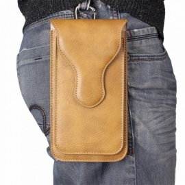 """Universal Flip Phone Bag Case Leather Wallet Purse Belt Phone Shells For 5.5"""" Phone or Below Light Brown/Leather"""