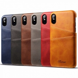 Mobile Phone Bag Genuine Leather Phone Pounch  Vintage Protection Shell For IPHONE X Red/Denim