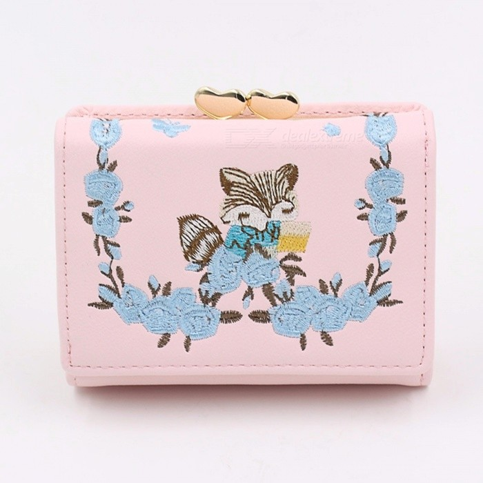 Short-Wallet-Female-Korean-Version-Simple-Cartoon-Embroider-Student-Small-Wallet-Mini-New-Wallets-Lady-Wallet-Black