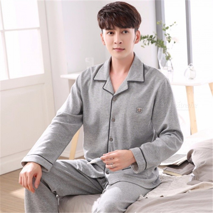 Spring Autumn Men's Pajamas Set Sleepwear, Long-Sleeved Turn-Down Collar Plus Size Nightwear Homewear Gray/M