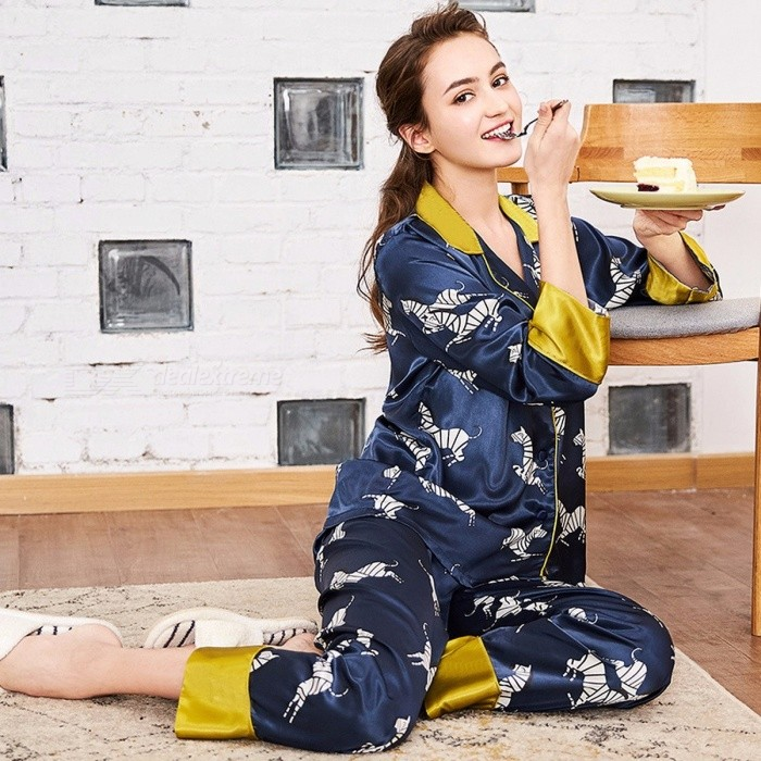 Elegant Artificial Silk Pajamas Set Long Sleeves Top + Pants Set Nightwear Nightgown Homewear Blue/M