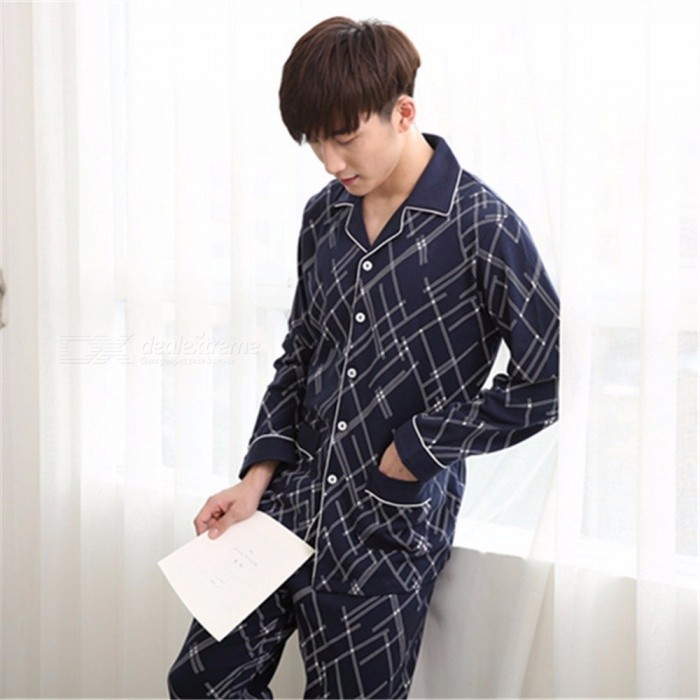 Spring Autumn Men\'s Pajamas Set Sleepwear, Long-Sleeved Turn-Down Collar Nightwear Homewear Blue/M