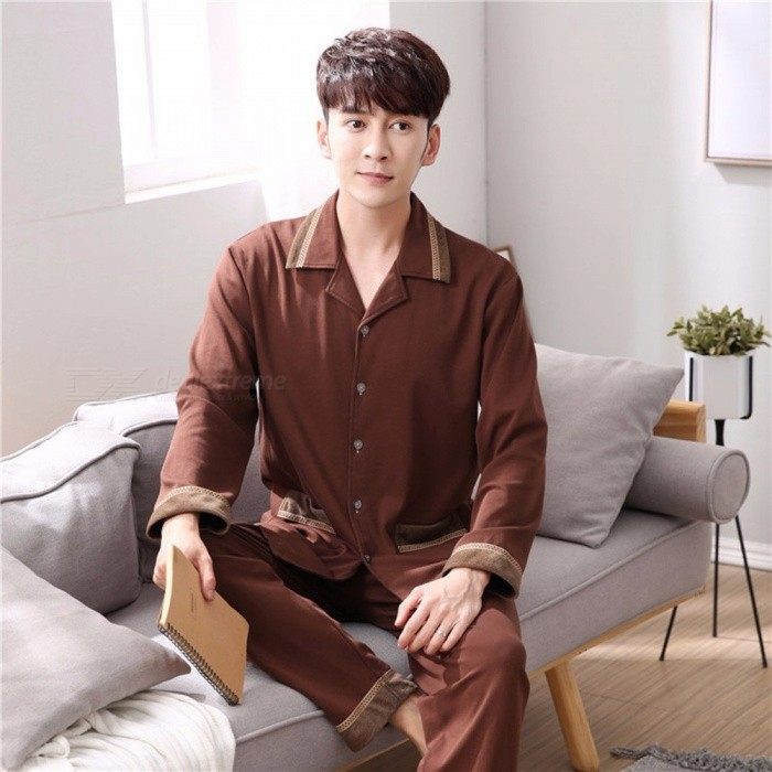 Spring Autumn Men's Pajamas Set Sleepwear, Long-Sleeved Turn-Down Collar Nightwear Homewear Brown/M