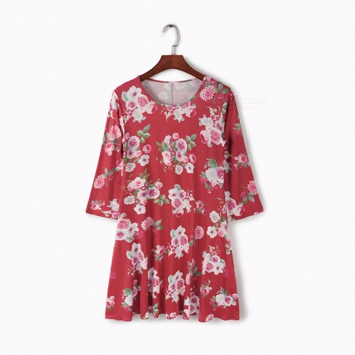 Fashion Floral Print Dress Sexy Loose Stylish Clothes Women\'s Clothing Burgundy/S