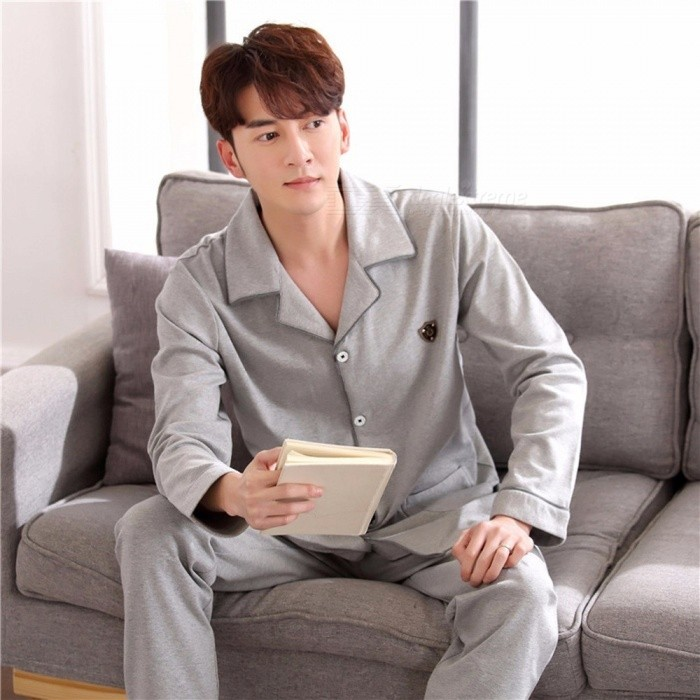 Soft Spring Autumn Men\'s Pajamas Set Sleepwear, Long-Sleeved Turn-Down Collar Plus Size Nightwear Homewear Gray/L