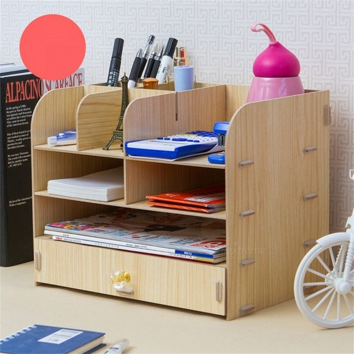 Creative Home Office Desktop File Holder Storage Box Wooden Multilayer Shelf Household Desktop Shelf M/Black