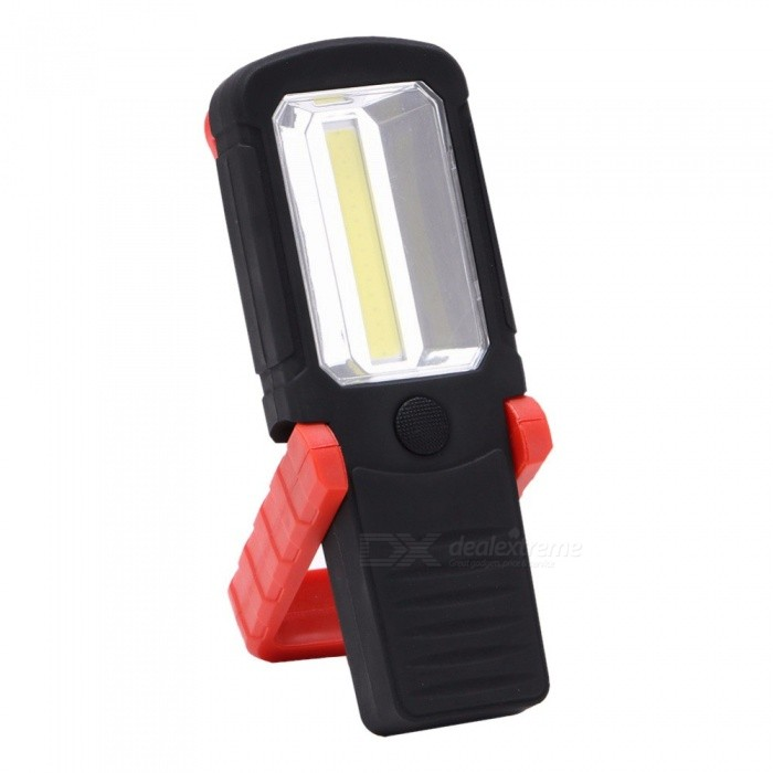 COB LED Work Light 1600 Lumens LED Flashlight Magnetic Folding Hook Torch - AAA Battery (Not Included) 3W/Black