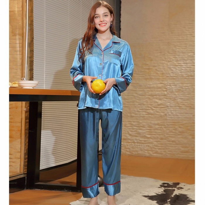 Women Pajamas Set Long Sleeve Silk Satin Pajamas Women Casual Tracksuits Lady's Sleepwear Pajamas Suit Blue