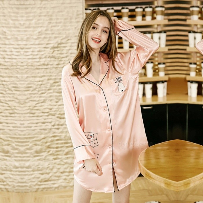 Women Pajamas Dress Long Sleeve Silk Satin Pajamas Women Casual Tracksuits Lady\'s Sleepwear Pajamas Dress Blue/M