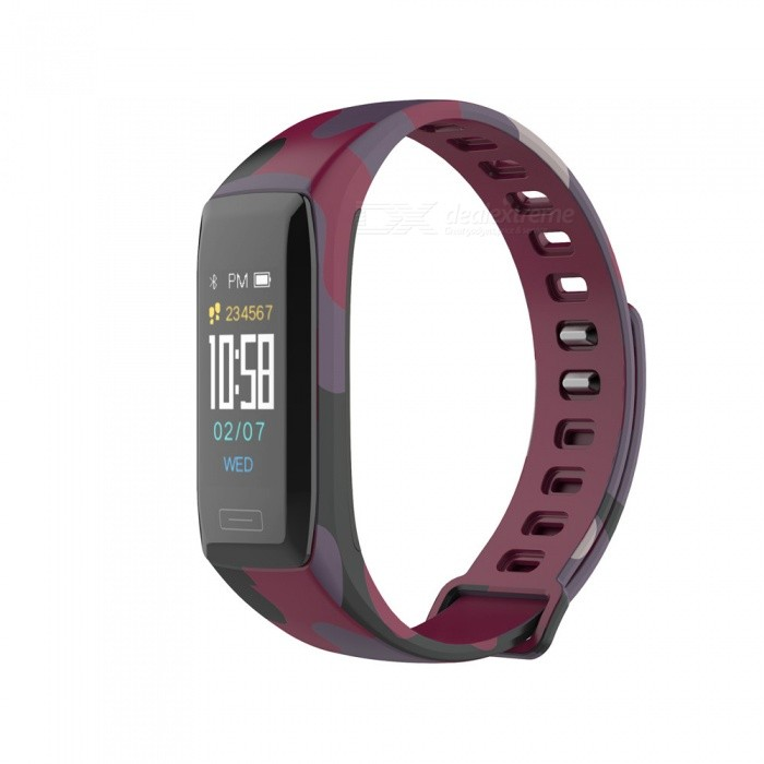 V7 Smart Bluetooth Bracelet w/ Blood Pressure / Heart Rate Monitor - Camouflage Red