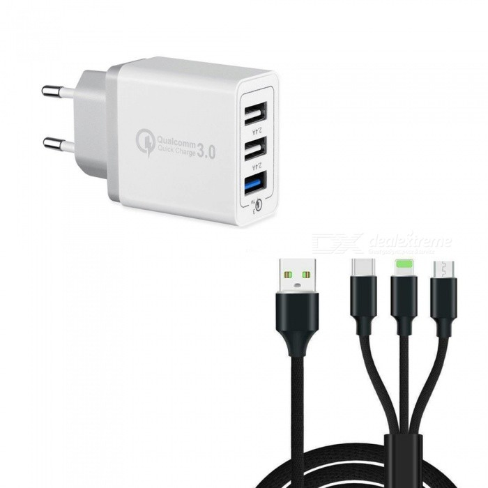 30W 3-Port Fast Quick Charge QC 3.0 USB Wall Charger + 3 in 1 Type-C + 8 Pin + Micro USB Data Charging Cable