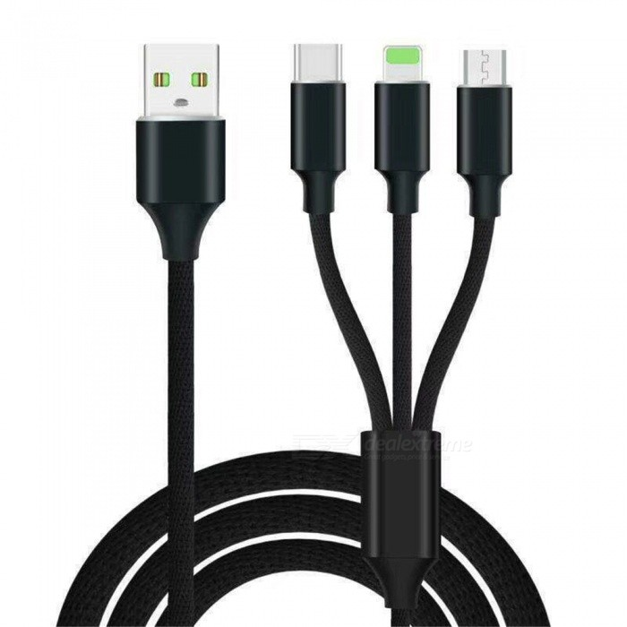 High Speed Nylon 2.4A  Fast Charging 3 in 1 Type-C + 8 Pin + Micro USB Cable - Black