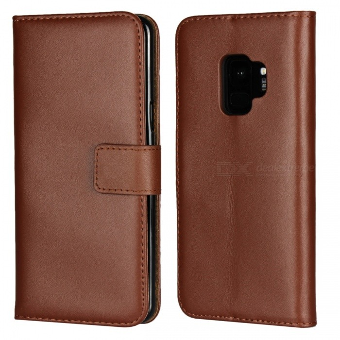 Buy Protective Full Body Split Leather Case for Samsung GALAXY S9 - Brown with Litecoins with Free Shipping on Gipsybee.com