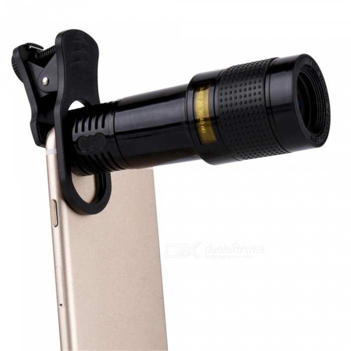 OJADE Universal 12X Telescope / Microscope +15X Macro + 0.63 Wide Angle + 198 Degree Fisheye Lens for Cell Phones Pad