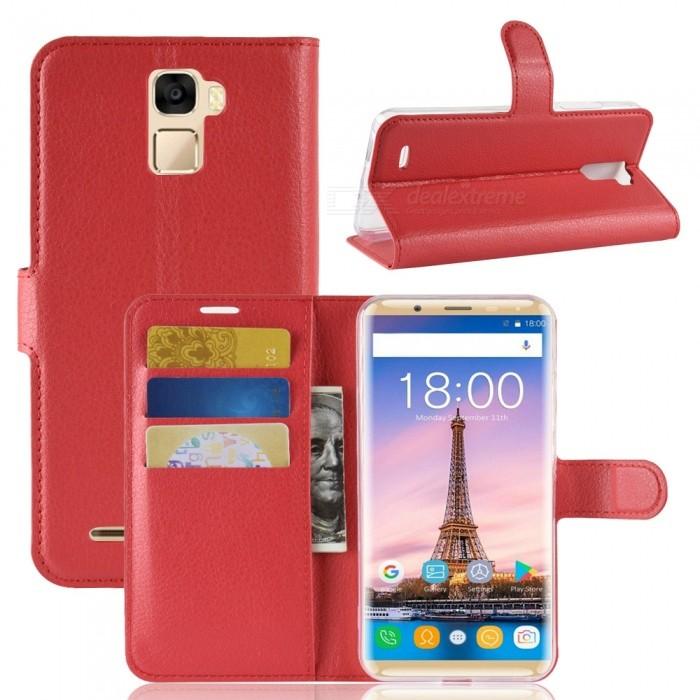 Naxtop Phone Wallet Flip Leather Holder Cover Case for Oukitel K5000 - Red