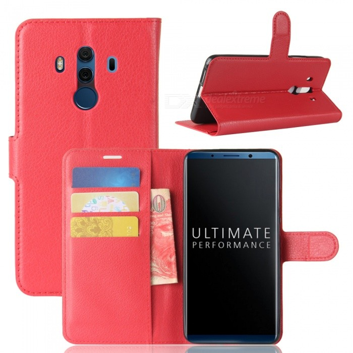 Naxtop Phone Wallet Flip Leather Holder Cover Case for Huawei Mate 10 Pro - Red