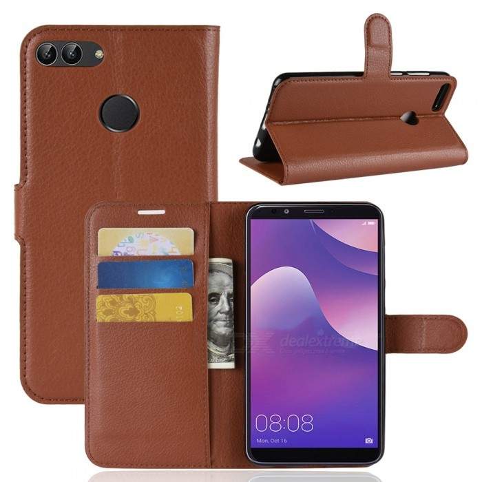 Naxtop Phone Wallet Flip Leather Holder Cover Case for Huawei Y9 (2018) - Brown, Black, Red