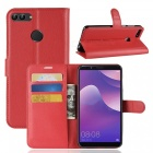 Naxtop Phone Wallet Flip Leather Holder Cover Case for Huawei Y9 (2018) - Red