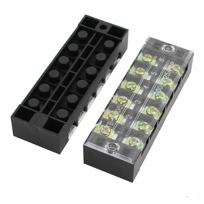 BTOOMET-10Pcs-600V-25A-6-Positions-6P-Dual-Rows-Covered-Barrier-Screw-Terminal-Block