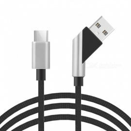 45 Degree Angled Type-C Braided Nylon Charging Cable 1m
