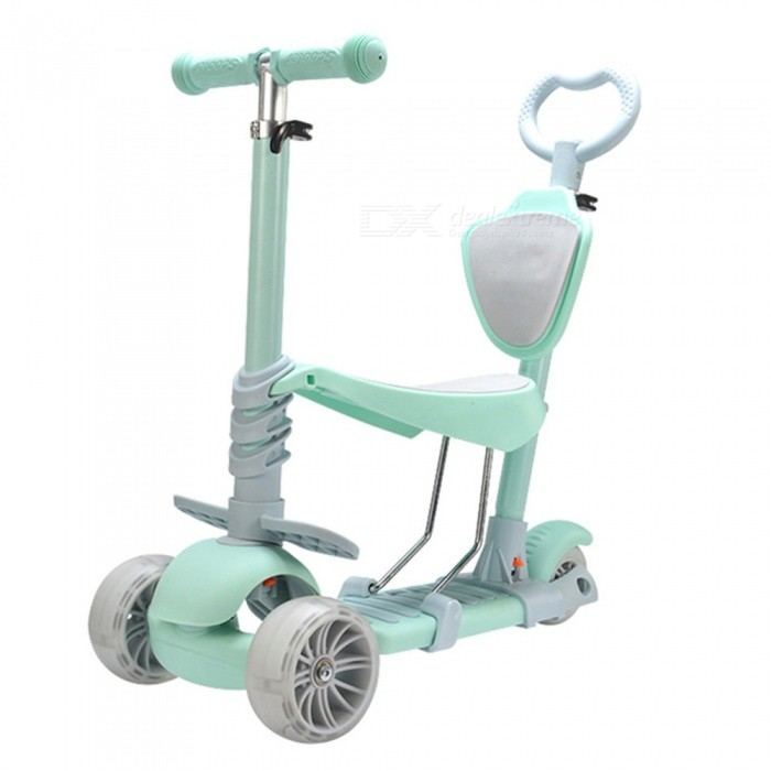 Portable-Wear-Resistant-3-Wheel-Scooter-w-LED-Light-for-Kids-Mint-Green