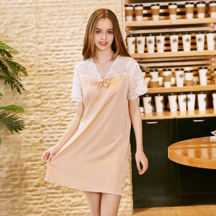Women Pajamas Dress Short Sleeve Silk Satin Pajamas Women Casual Nightgowns Lady\'s Sleepwear Pajamas Dress SQ805 Pink/M